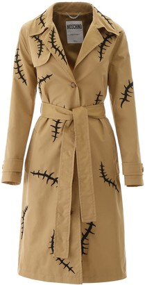 Moschino EMBROIDERED TRENCH COAT 40 Beige, Black Cotton