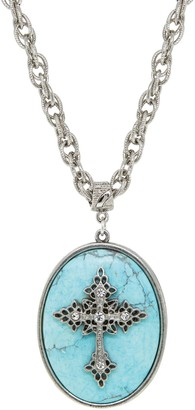 1928 Silver Tone Turquoise Oval Crystal Cross Pendant Necklace