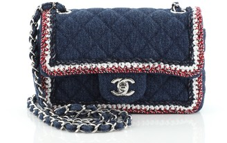 Chanel Classic Single Flap Bag Quilted Denim with Tweed Mini