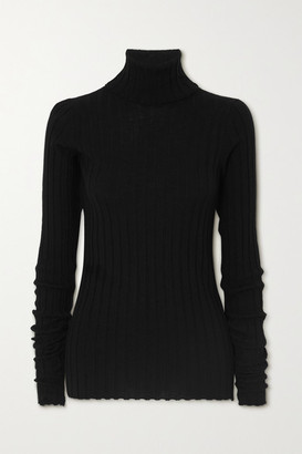 Petar Petrov Karen Ribbed Merino Wool Turtleneck Sweater - Black