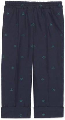 Gucci Children's symbols jacquard cotton trousers