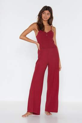 Nasty Gal Womens Bedding Home Vest Top And Wide-Leg Trousers Lounge Set - Red - 10