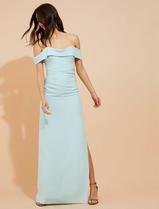 Halston Draped off shoulder crepe gown
