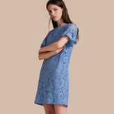 Burberry Macramé Lace Short Shift Dress with Ruffle Sleeves