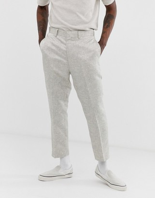 ASOS DESIGN tapered suit trousers in silver jacquard