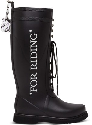 Off-White Quote-motif Lace-up Riding Boots