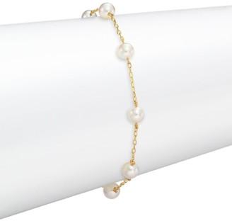 Mikimoto Pearl & Gold Chain Bracelet