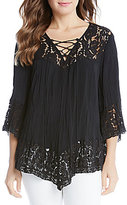 Karen Kane Pebble Crepe Lace Up Crushed Top