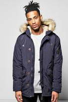 Multi Pocket Faux Fur Hooded Parka