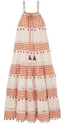 Dodo Bar Or Crochet-trimmed Tasseled Checked Cotton-jacquard Maxi Dress
