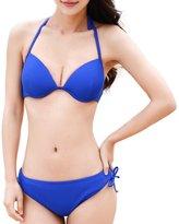 Qiaoer Women Sexy Push up Halter Tankini 2 Piece Bikini Set Swimwear Spa Swimsuit (M, )