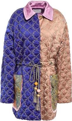 Peter Pilotto Jacquard-paneled Quilted Satin Jacket