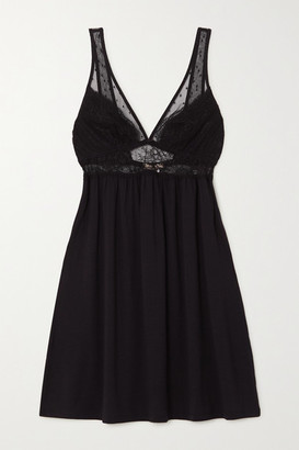 Eberjey Love Me Stretch-modal, Lace And Point D'esprit Tulle Chemise - Black
