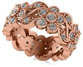 Allurez Women's Diamond Floral Anniversary Ring Band in 14k White Gold (1.23ct)