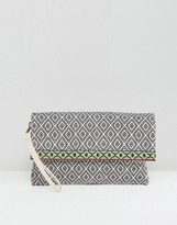 South Beach Vacation Beach Clutch Bag With Embroidered Trim