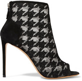 Nicholas Kirkwood Houndstooth-embroidered mesh and suede ankle boots