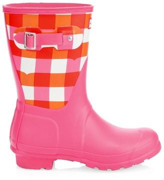 Hunter Short Gingham Rain Boots