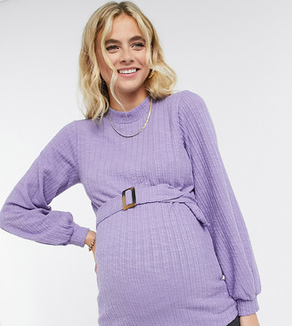Mama Licious Mamalicious Maternity ribbed top with puffed sleeves and belted waist in lilac