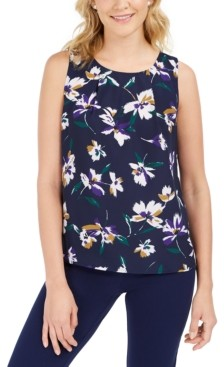 Nine West Floral-Print Pleated Top