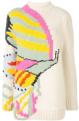 Tory Burch Butterfly-Intarsia Mock Neck Sweater