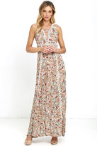 LuLu*s Sun Will Shine Beige Floral Print Maxi Dress