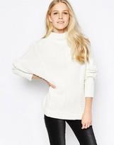 Vila Indie High Neck Textured Sweater In White
