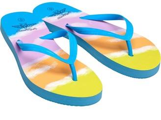 Board Angels Womens Multi Stripe Flip Flops Blue/Multi