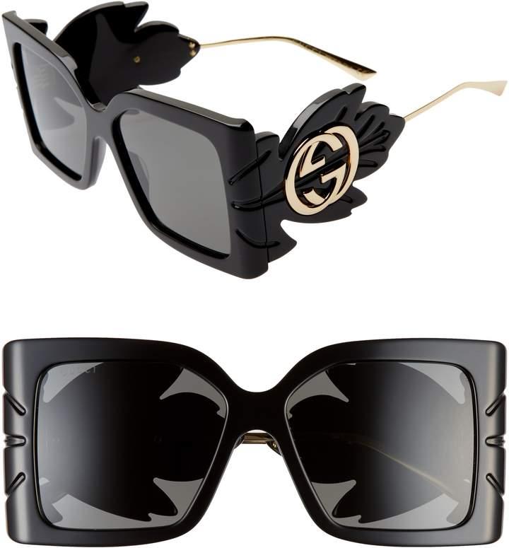 61add58de Black Gucci Square Sunglass's - ShopStyle