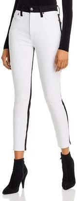 Alice + Olivia Good High-Rise Color-Block Ankle Skinny Jeans in Day to Night