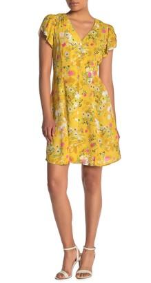 Velvet by Graham & Spencer Floral Print Flutter Sleeve Mini Dress