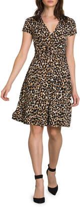 Neiman Marcus Amiya Dotted Wrap Dress