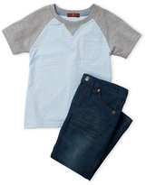 7 For All Mankind Toddler Boys) Two-Piece Raglan Tee & Slim Fit Jeans Set