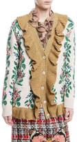 Gucci Intarsia Jacquard Flowers Wool Cardigan