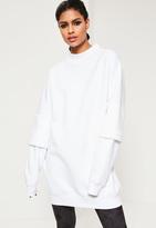 Missguided White Double Layered Sleeve Oversized Sweatshirt