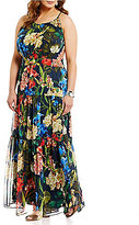 Gibson & Latimer Plus Round Neck Sleeveless Tropical Print Maxi Dress