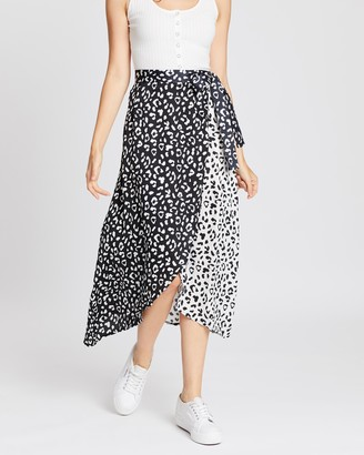 boohoo Satin Spliced Cheetah Print Midaxi Skirt