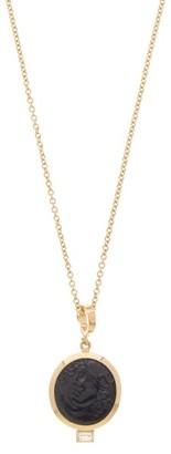 Azlee - Nymph Baguette-diamond & 18kt Gold Necklace - Black Gold
