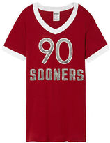 PINK University Of Oklahoma Bling V-Neck Ringer Tee