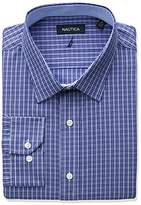 Nautica Men's Regular Fit Check Spread Collar Dress Shirt