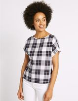 Marks and Spencer Modal Blend Checked Tie Back Shell Top