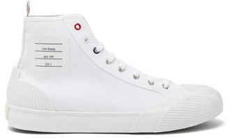 Thom Browne Label Patch High Top Canvas Trainers - Mens - White