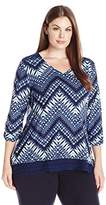 Notations Women's Plus Size Ruched Long Sleeve Knit Top with Lace on Hem and Shoulders