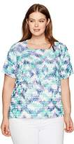 Alfred Dunner Women's Petite Tiered Blouse Abstract Print