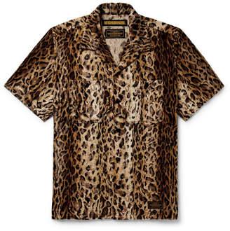 Neighborhood Camp-Collar Leopard-Print Faux Fur Shirt