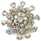 PYNK JEWELLERY Small Silver & AB Crystal Starburst Flower Brooch