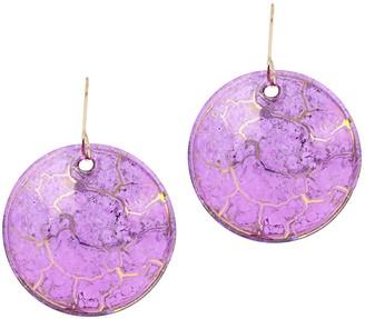 Italian Gold Round Murano Glass Dangle Earrings, 14K