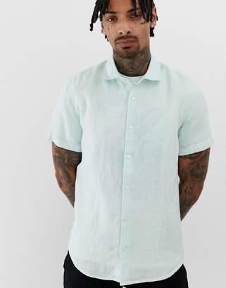 BOSS Rash short sleeve linen shirt in light green