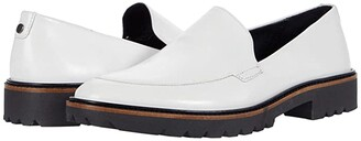 Ecco Incise Tailored Loafer (Bright White) Women's Slip on Shoes
