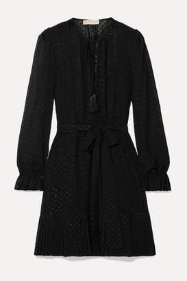 MICHAEL Michael Kors Tasseled Pleated Fil Coupe Georgette Mini Dress - Black
