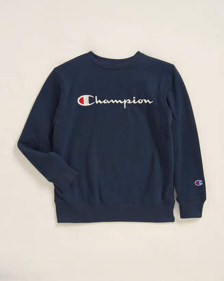 Champion Boys 8-20) Navy Script Logo Sweatshirt